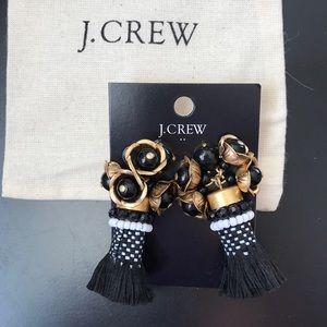 JCrew Floral Tassel Earrings
